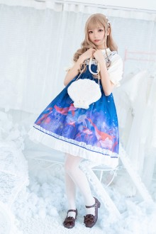 "Original Authentic Print ""Red Whale"" Sweet Lolita OP Dress"