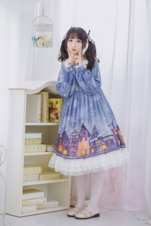 Original Print <Snow House> Long Sleeve Sweet Lolita OP Dress 2 Colors