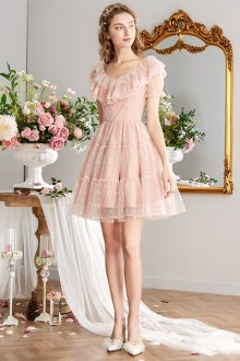2019 New Pink Lace High Waist Sweet Lolita Dress