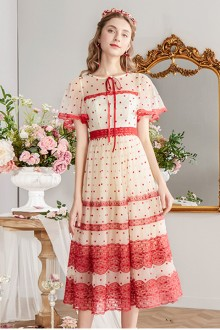 2019 New Long Section <Flowers Opened> Mesh Polka Dot Sweet Lolita Dress