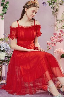 2019 New Red Sling Strapless Sweet Lolita Dress