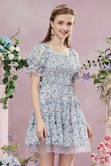 2019 New Chiffon Puff Sleeve Floral Sweet Lolita Dress