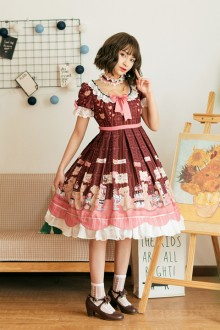 Original Design <Little Bear Dessert> Sweet Lolita OP Dress