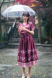 Original Chinese Element Wind Chime Print Sweet Lolita Dress 2 Colors