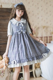 Plaid Printing Princess Short Sleeve Sweet Lolita Dress
