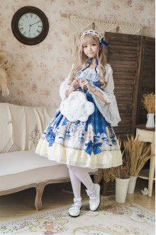 Blue Suspender Bow Sweet Lolita JSK Dress