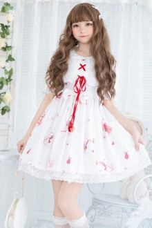 Cute Rabbit Printing Chiffon Sweet Lolita OP Dress