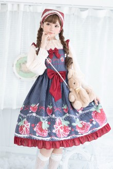 Fresh Strawberry Printing Lace Sleeveless Sweet Lolita JSK Dress