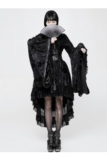 Black Flocking Printing Kimono Gothic Lolita Dress