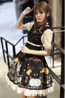Original Design <Very Night Sigh> Short Sleeve Dark Gothic Lolita OP Dress