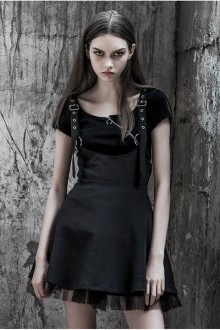 Original New Dark Chiffon Gothic Lolita Sling Dress