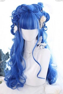 Blue Big Wavy Long Curly Hair Classic Lolita Wig