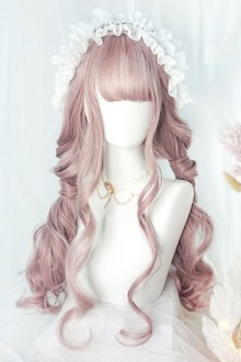 Big Wavy Long Curly Hair Cute Pink Lolita Wigs