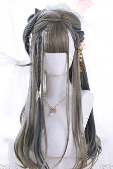 Linen Gray Highlight Gray-blue Hair-tail Micro Curly Long Hair Classic Lolita Wigs