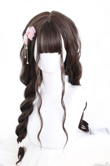 Air bangs Dark Tea Water Ripple Long Curly Hair Classic Lolita Wigs