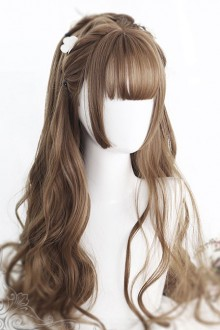Air bangs Hime Cut Long Curly Hair Lolita Wigs