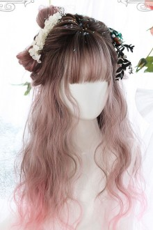 Air bangs Long Curly Hair Sweet Lolita Pink Gradient Wigs