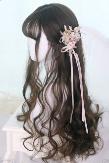 Air bangs Black-brown Long Curly Hair Classic Lolita Wigs