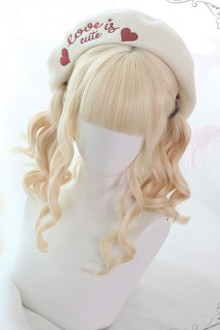 Air bangs Golden Medium Long Curly Hair Classic Lolita Wigs