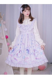 Carousel Series JSK Ruffle Sweet Lolita Purple Sling Dress