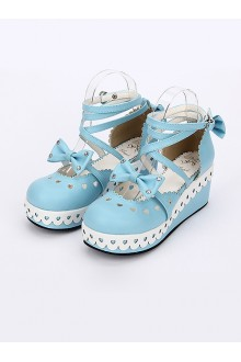 Round-toe Sweet Bowknot Lace Sweet Lolita Shoes 4 Colors