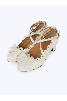 Teenage Bowknot Crucifix Lace Classic Lolita High Heels Shoes 3 Colors