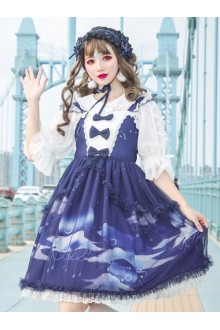 Dream Of Cloud Whale Series JSK Bowknot Navy Blue Sweet Lolita Sling Dress