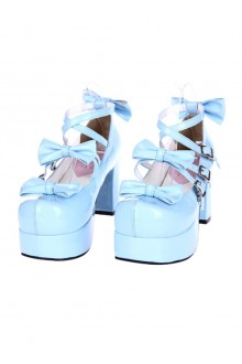 Pure Color Bowknot Thick Sole High Heel Shoes 3 Colors