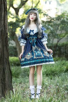 Original Design Print Sweet Lolita OP Dress 6 Colors