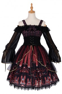 "Original Design ""Chess Cat"" Dark Gothic Lolita Dress"