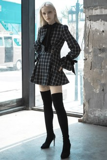 Original Design Vintage Black And White Check Gothic Lolita Dress