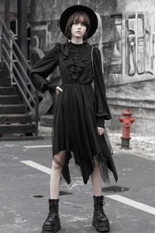 Original New Chiffon V-neck Dark Gothic Lolita Dress