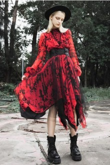 Original New Black Red Mesh Snow Gauze Gothic Lolita Dress
