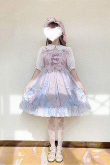 "Original Design Print ""Cat Mermaid"" Pink Sweet Lolita JSK Dress"