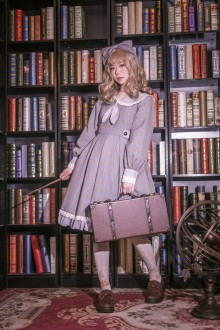 "Original Design ""Librarian"" Long Sleeve Sweet Lolita OP Dress 2 Colors"