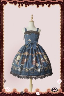 "Original Design Print ""Mechanical Doll"" Blue Simple Sweet Lolita Dress"
