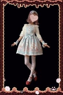 "Original Design Print ""Nurse Bear"" Sweet Lolita Dress 3 Colors"
