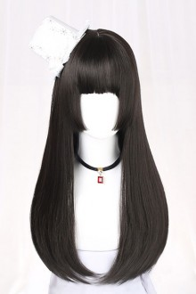 Hime Cut Wig Black Long Straight Hair Lolita Wig