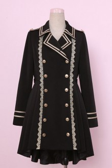 Military Lolita Black Uniform Lolita Coat
