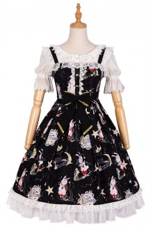 YINGLUOFU Dark Gothic Star Rabbit Printing  Lolita Dress