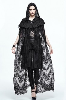 Gothic Cloak Halloween Black Lace Witch Perspective Hooded Long Cloak