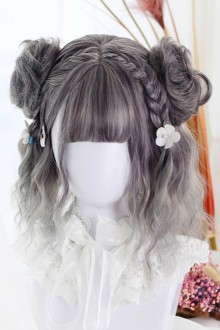 Harajuku Wigs Gradual Bangs Change Water Wave Curly Lolita Short Wig