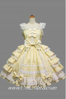 Yellow Lolita Dress Bow Lolita Ruffles Dress
