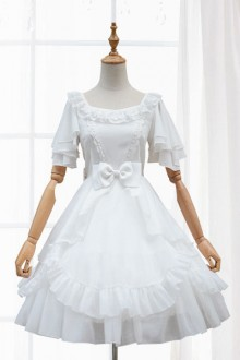 Lolita Wedding Dress White Chiffon One Piece Lolita Wedding Dress