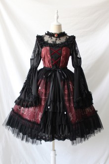 Chandelier Print Lace Ruffles Bow Cardigan Lolita JSK Dress