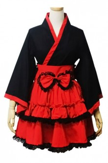 Black and Red Long Sleeves Kimono Lolita Dress