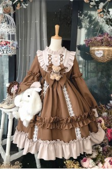 Vintage Long Sleeve Coffee Teddy Bear Printing Sweet Lolita Dress