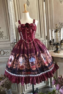 Cinderella's Revenge Wine Retro Gothic Lolita Dress