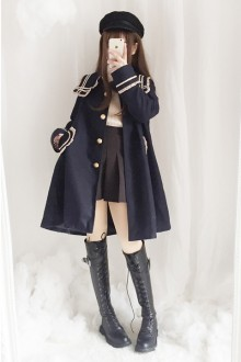New Navy Collar College Wind Wool Sweet Lolita Coat 2 Color