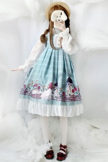 New Light Green Printed Plaid Sweet Lolita JSK Dress